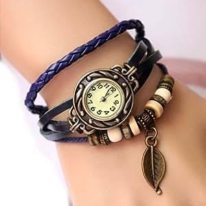 Retro Weave Wrap Around Leather Bracelet Lady Wrist Watch Quartz Watch (blue)