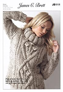 Free Knitting Pattern Ladies Chunky Jumper : James Brett Mega Chunky Knitting Pattern - JB111 Ladies Roll Neck Jumper: Ama...