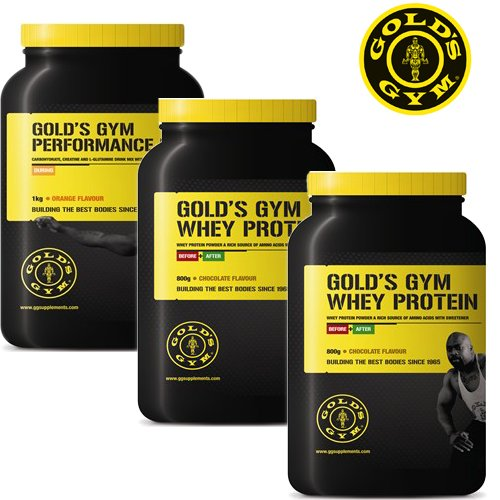 Gold's Gym Whey Protein 2 x 800g Whey Protein Flavour: Chocolate. Includes Bonus 1kg Creatine Performance Fuel Flavour: Orange