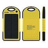 LEVIN 6000mAh iPhone/Androidモバイルソーラーチャージャー ソーラー充電器 ソーラーモバイルバッテリー 衝撃吸収 防じん 防雪 イエロー
