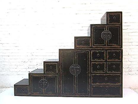 """'China grandes Escaleras–Cómoda lacado negro Shabby Chic con muchos cajones ambos lados aufstellbar de Luxury de Park """""""
