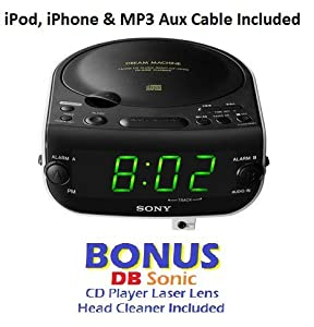 sony dream machine dual alarm clock cd player with am fm stereo radio tuner. Black Bedroom Furniture Sets. Home Design Ideas