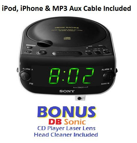 sony dream machine dual alarm clock cd player with am fm stereo radio tuner digital display. Black Bedroom Furniture Sets. Home Design Ideas