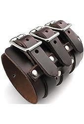 "KONOV Wide Genuine Leather Mens Bangle Cuff Bracelet, Punk Rock, Fits 7.5"" to 9"", Brown"