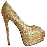 Onorevoli Onlineshoe Womens luccicanti Shimmer glitter peep toe Stiletto scomparsa piattaforma tacco alto scarpe - Oro UK 6 - EU39