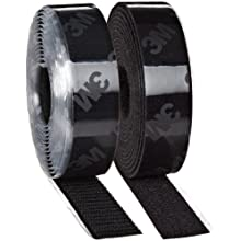 3M Fastener TB3546/TB3547 Hook/Loop Black, 1 in (25.4mm) x 10 ft (3.05m) (1 Mated Strip/Bag)