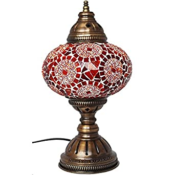 Table Lamp Mosaic Lamps Red Glass Moroccan Lanterns Turkish Lamp Bedside