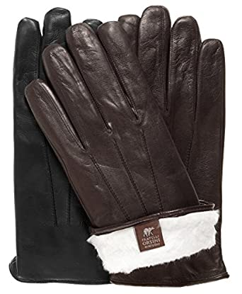 Fratelli Orsini Everyday Men's Our Bestselling Italian Rabbit Fur Gloves Size M Color Black