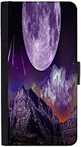 Snoogg Fantasy Night Graphic Snap On Hard Back Leather + Pc Flip Cover Htc M9