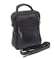 Claire Chase Medium Leather Manbag in Cafe