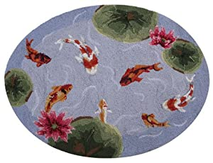 Koi fish pond area bath kitchen hook rug with for Fish bath rug