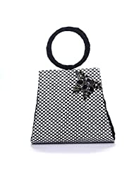 Arisha Kreation Co Women Hand Bag (Black & White)