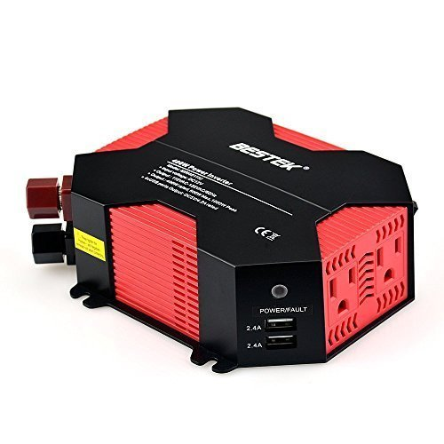 BESTEK 400W Power Inverter DC 12V to 110V Car Adapter Dual AC Outlets with 5A Max 4 USB Charging Ports for Digital Camera, Laptop, Smartphones, Tablets and More ( Battery Clips and Car Cigarette Plug Included)