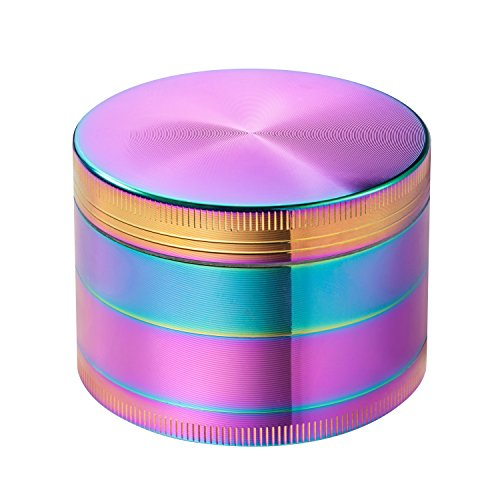 Colourful-4-Pieces-Metal-Zinc-alloy-Tobacco-Grinder-Spice-Grinder-Herb-Grinder-Rainbow-Metal-52mm-Diameter-By-KepooMan