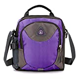 11 Purple Anti-theft Flap Front Classic Hard Wearing Nylon Shoulder Bag with Drinks Bag Side Pockets