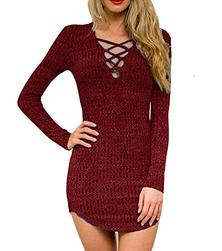 Dreagal Women's Plunge Neck Lattice Lace Up Bodycon Mini Dress Wine Red Large