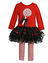 Bonnie Jean Baby Girls Lollipop Christmas Holiday Dress Leggings, Red, 4T