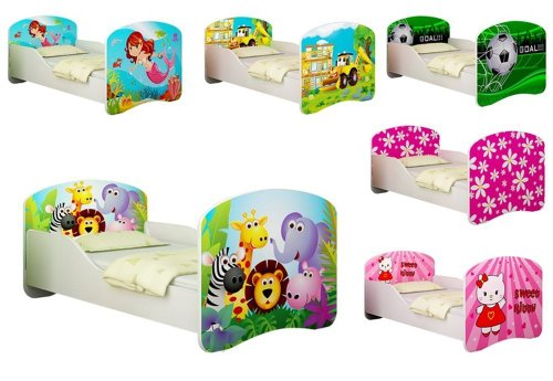 M&L Kinderbett mit Matratze und Lattenrost - 34 Designs - 70x140 cm, Design: 01 Happy Zoo