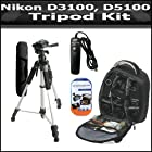 Tripod Accessory Bundle Kit For Nikon Df, D5300, D3300, D5200 D3200 D3100 D5100 D7100 D600 D610 Digital SLR Camera Includes 57 Inch Pro Tripod + Remote Shutter Release + Deluxe BackPack Case + 3 Pack LCD Screen Protectors