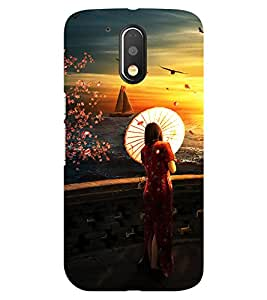 Chiraiyaa Designer Printed Premium Back Cover Case for Moto G4 Play (painting boat sun women nature) (Multicolor)