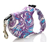 Costyle Durabelt Fashion Retractable Belt Dog Leash Leader Cable Cord, Small/Medium, 5 Meter 16-Feet Long, Supports up to 44-Pound-Lifetime Warranty (Purple)