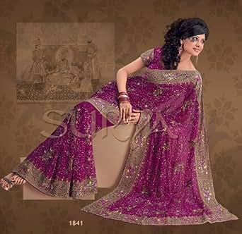 Purple party wedding designer vogue dress sari saree for Amazon designer wedding dresses
