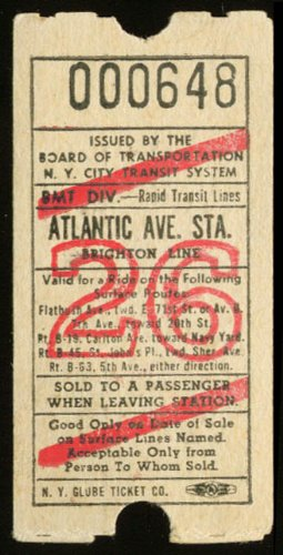 NYC Transit BMT Div Atlantic Av Station Brighton Ln ticket (Brighton Ticket compare prices)
