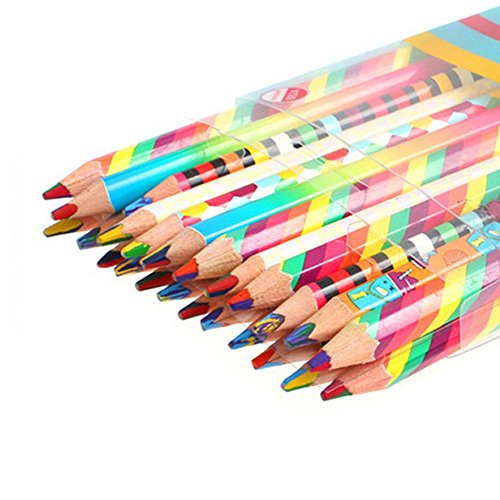 Kevin William Rainbow Pencils Rainbow Stripe Quad 4-in-1 Colored Pencils (Bundle of 24) Assorted Colors for Kids Adults Art Drawing, Coloring, Sketching
