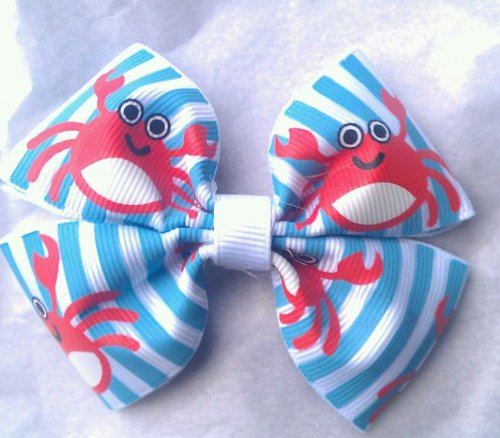 BOW - CRABBY CRAB - 3 Inch Double Boutique Bow - On Alligator Clip --- Check Out My Other Items - Great for School or Party Favors