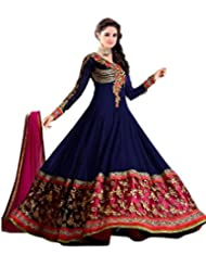 Tarumaru Ethnic Wear Designer Georgette Navy Blue Beautiful Semi-Stitched Gown Dress Material