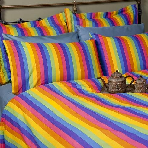 Sin In Linen Colorful Rainbow Print Duvet Cover, Queen front-985671
