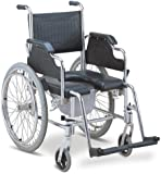 MedMobile Commode / Shower Wheelchair With Aluminum Frame, Detachable Footrests, Padded Armrests, Locking Rear Wheels and PU Commode Seat