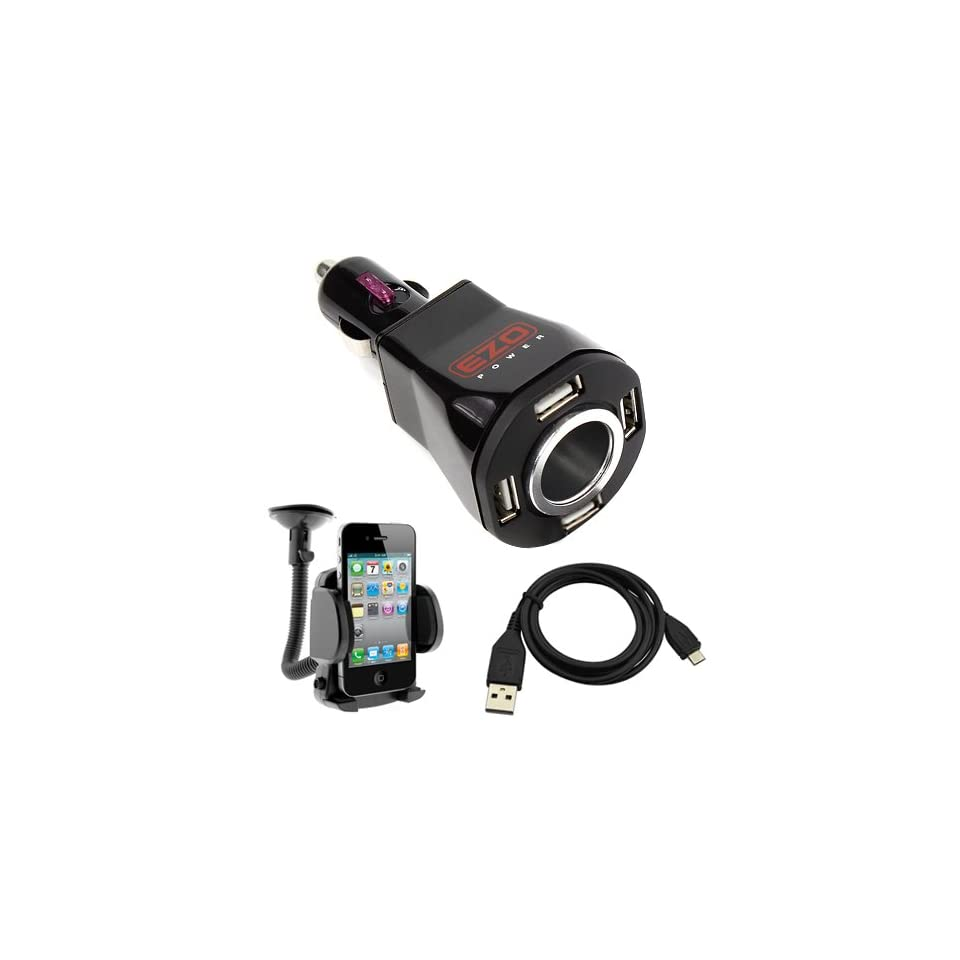 EZOPower Black 4 Port USB Car Charger Vehicle Power Adapter 2A with Extra Socket + Small Car Mount Holder + Micro USB Data Cable for Nokia Lumia 610/ Icon (929)/ 1520/ 1020/ 520/ 620/ 925/ 928/ 521 Android Phone Smartphone Cellphone and more