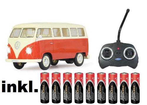 RC-ferngesteuert-VW-Bus-Bulli-1962-T1-ROT-118-RTR-komplett-Set-Licht-inkl-Fernsteuerung-DER-KLASSIKER