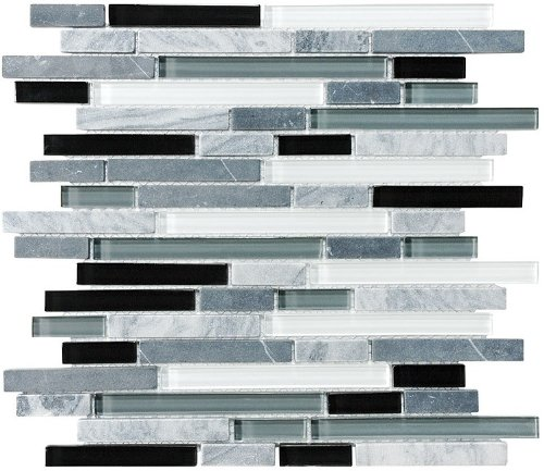 "4"" x 6"" Sample - Bliss Midnight Stone and Glass Linear Mosaic Tiles - bathroom walls/ kitchen backsplash"