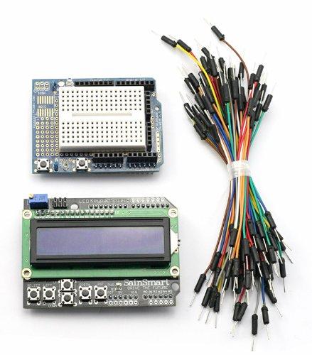 Sainsmart C19 Kit With Lcd Keypad Shield + Prototype Shield + Mini Breadboard + Jump Wires For Arduino Uno R3 Mega Mega2560 Nano Due Duemilanove Avr Atmel Robot Xbee Zigbee