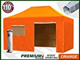 Eurmax Premium 4.5 x 3mtr Pop Up Gazebo Marquee, Heavy Duty Folding Tent , with Four Side Panels And Wheeled Carry Bag (Orange)