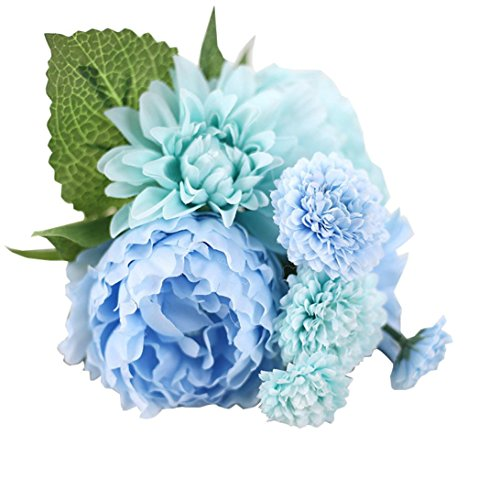 Peony Artificial Bouquet, Oksale® Silk Fake Wedding Hydrangea Flower Leaf, Bridal In Vase Favor Home Decor for Party, Home,Bookstore,Cafe Store (Blue)