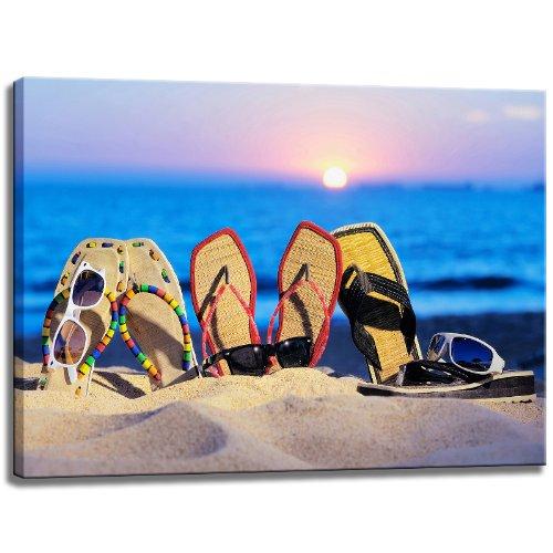 Infradito sulla spiaggia foto su tela Formato: 120 cm x 80 cm. Stampa artistica di elevata qualità come un murale. Più economico di un dipinto ad olio! ATTENZIONE! NO Poster