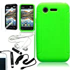 [ARENA] GREEN SOLID SILICONE GRIP SKIN COVER FITTED SOFT GEL CASE for LG OPTIMUS FUEL L34C + FREE ARENA ACCESSORY KIT