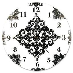 Versailles Black & White Luxury Damask Girls Nursery Wall Clock
