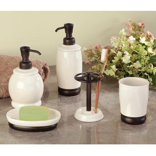 Interdesign york ceramic bath vanity soap dish vanilla for Interdesign york
