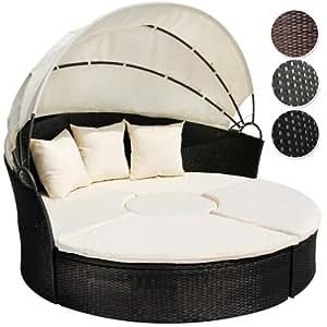 Canapé de jardin modulable Noir - en résine tressée - avec table basse et pare-soleil Ø 166 cm - DIVERSES COULEURS AU CHOIX