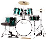 Metallic Green 5 Piece Junior Drum Set with Cymbals Stands Sticks Hardware Throne