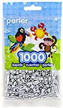 Neww Perler Striped Beads 1000Pkg-White And Silver Pearl Neww