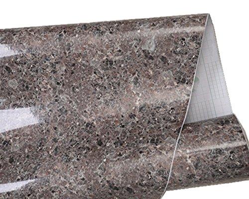 Brown Granite Look Marble Gloss Film Vinyl Self Adhesive Counter Top Peel and Stick Wall Decal 24''x79'' (Granite Countertop Wrap compare prices)