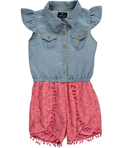 Dollhouse Big Girls Fuzzy Pom Pom Trim Romper