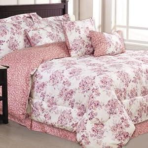 5 Piece Twin Girls Flowered Pink Mauve Comforter Set Pillows