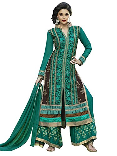 Vibes Womens Georgette Patch Work Straight Dress Material (V273-10050 _Blue _Free Size)