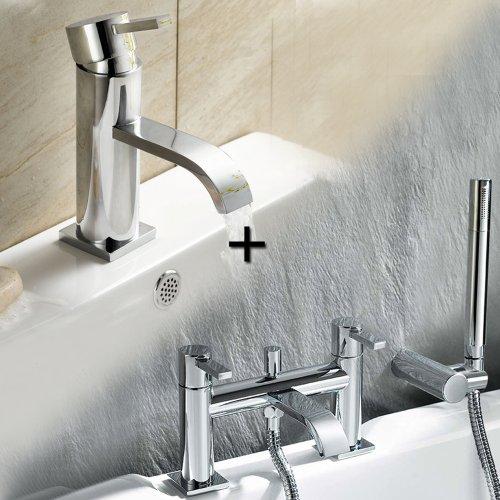 Chrome Monobloc Basin and Bath Filler Mixer with Shower Head Taps Set